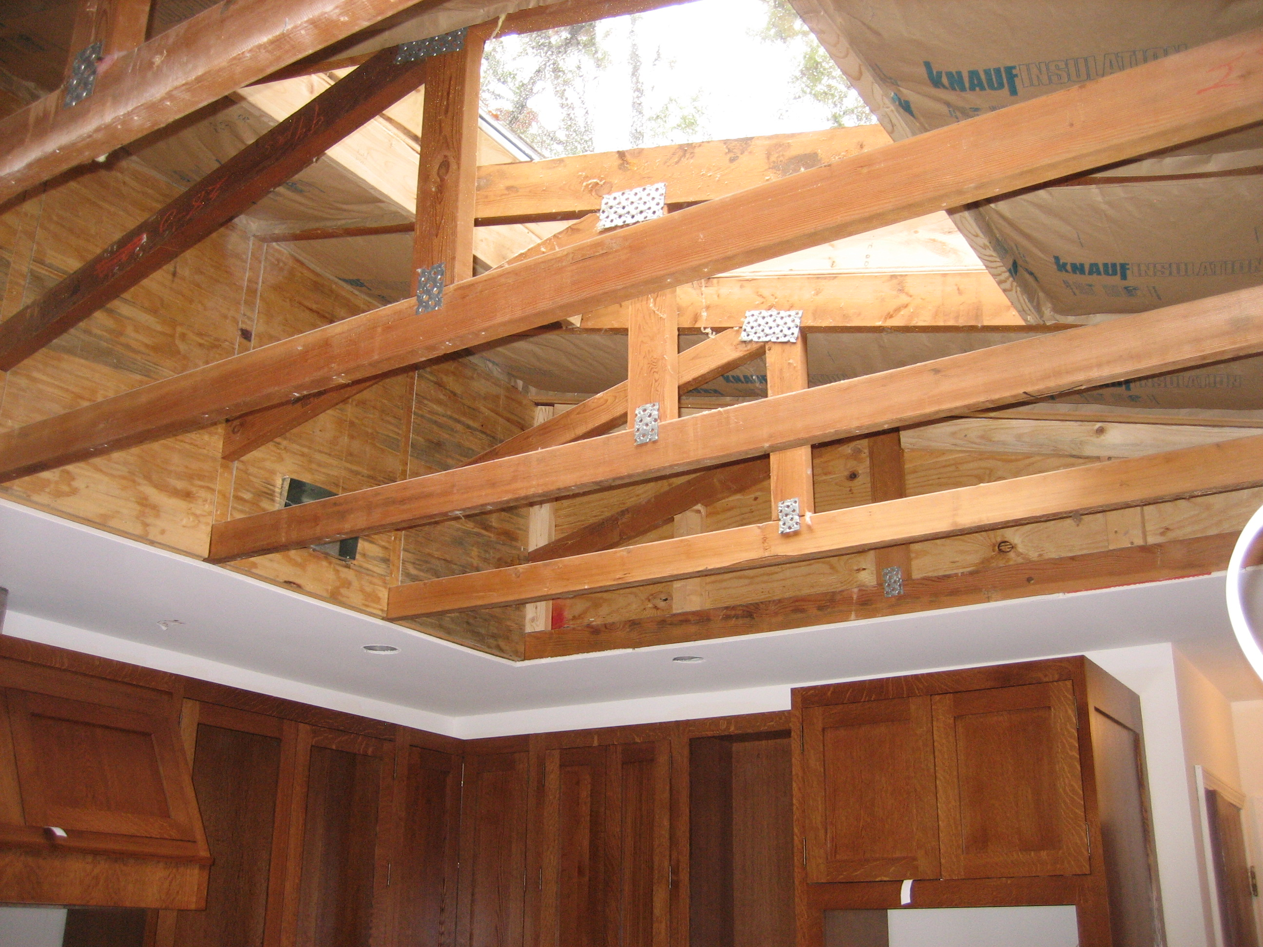 Remove ceiling exposed trusses for Exposed roof trusses images